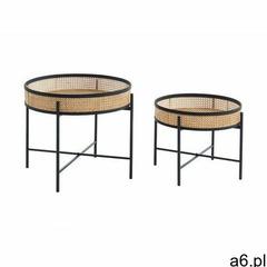 Wysuwane ławy HANOI – bambus, rattan i metal – kolor naturalny i czarny - ogłoszenia A6.pl