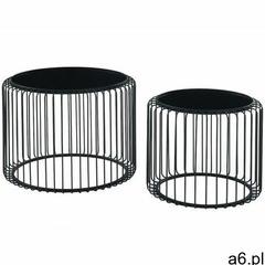 Wsuwane stoliki kawowe z drutu ferida - metal i szkło - kolor czarny marki Vente-unique - ogłoszenia A6.pl