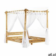 Łóżko z baldachimem MALINDI z zasłoną - 160 × 200 cm - Bambus - ogłoszenia A6.pl