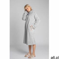 Długa pluszowa sukienka z kołnierzem - popielata marki Moe - ogłoszenia A6.pl