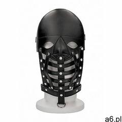 Shots - ouch Skórzana półotwarta maska bdsm - leather male mask - black (8714273533081) - ogłoszenia A6.pl