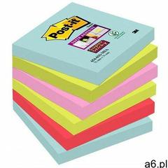 Karteczki POST-IT Super sticky, (654-6SS-MIA), 76x76mm, 6x90 kart., paleta Miami - ogłoszenia A6.pl