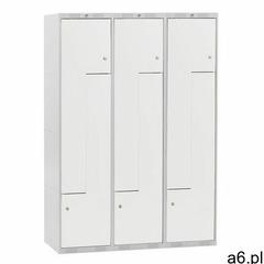 Szafa ubraniowa CLASSIC, typ L, 3 moduły, 6 drzwi, 1740x1200x550 mm, szary - ogłoszenia A6.pl