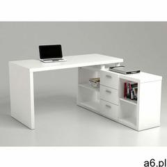 Biurko narożne z półkami ALDRIC III - Biały - ogłoszenia A6.pl