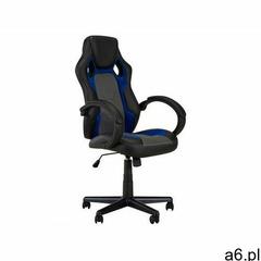 Fotel biurowy driver ii - ekoskóra - czarny+niebieski - regulowana wysokość marki Vente-unique - ogłoszenia A6.pl