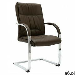 Brązowe tapicerowane krzesło biurowe - lauris 2x marki Elior - ogłoszenia A6.pl