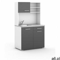 B2b partner Kuchnia biurowa primo ze zlewem i baterią, 1/2 drzwi, biały/grafit - ogłoszenia A6.pl