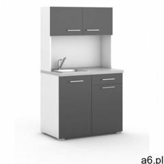 Kuchnia biurowa PRIMO ze zlewem i baterią, biały/grafit - ogłoszenia A6.pl