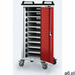 Wózek do ładowania laptopów/tabletów, 10 przegródek, szary/czerwony - ogłoszenia A6.pl
