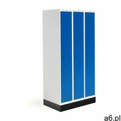 Szafka do szatni ROZ, 3 moduły, 3 drzwi, 1740x900x550 mm, niebieski, z podstawą - ogłoszenia A6.pl