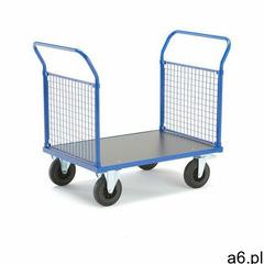 Wózek platformowy transfer, 2 burty z siatki, 1000x700 mm, koła gumowe, z hamulcami marki Aj produkt - ogłoszenia A6.pl