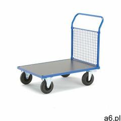 Wózek platformowy TRANSFER, 1 burta z rur stalowych, 1000x700 mm, gumowe koła, z hamulcami - ogłoszenia A6.pl
