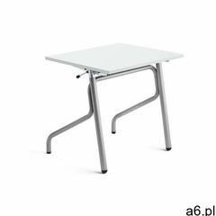 Biurko szkolne z regulacją wysokości ADJUST, 700x600 mm, HPL z redukcją hałasu, biały, srebrny - ogłoszenia A6.pl