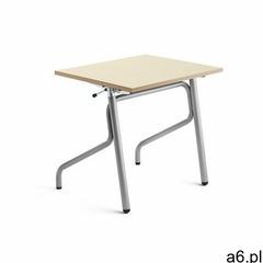 Biurko szkolne z regulacją wysokości adjust, 700x600 mm, hpl z redukcją hałasu, brzoza, srebrny mark - ogłoszenia A6.pl