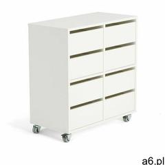 Półka na książki Rak z modułem 8-szufladowym, biała - ogłoszenia A6.pl