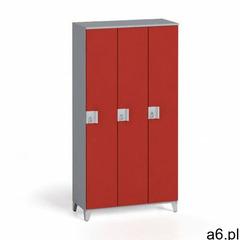 Szafa trzyczęściowa 1750 x 900 x 400 mm, sivá/czerwony - ogłoszenia A6.pl