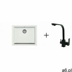 Stellman Zlewozmywak granitowy podwieszany holger biały z baterią kuchenną fil czarną - ogłoszenia A6.pl