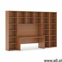 Biblioteka z wbudowanym biurkiem, wysoka/szeroka, 3350x700/400x2300 mm, czereśnia - ogłoszenia A6.pl