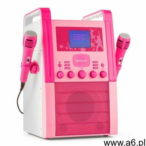 a8p-v2 pk zestaw karaoke odtwarzacz cd aux 2 x mikrofon różowy marki Auna - 1